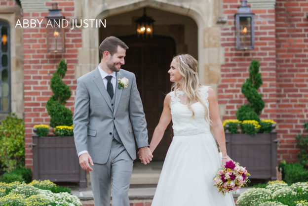 bride and groom walking outside Zenner House