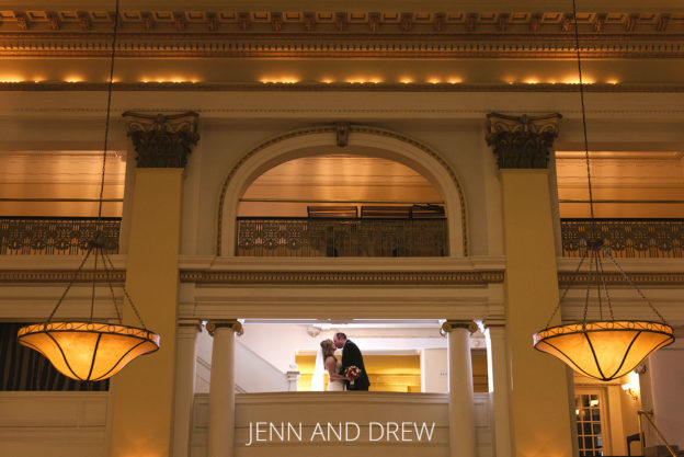 Bride and Groom kissing at the columbus westin