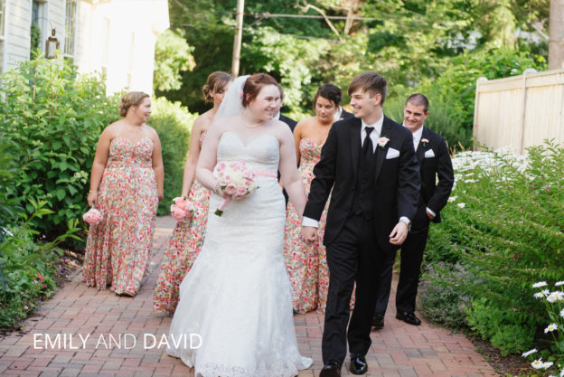 bride and groom walking down granville alley