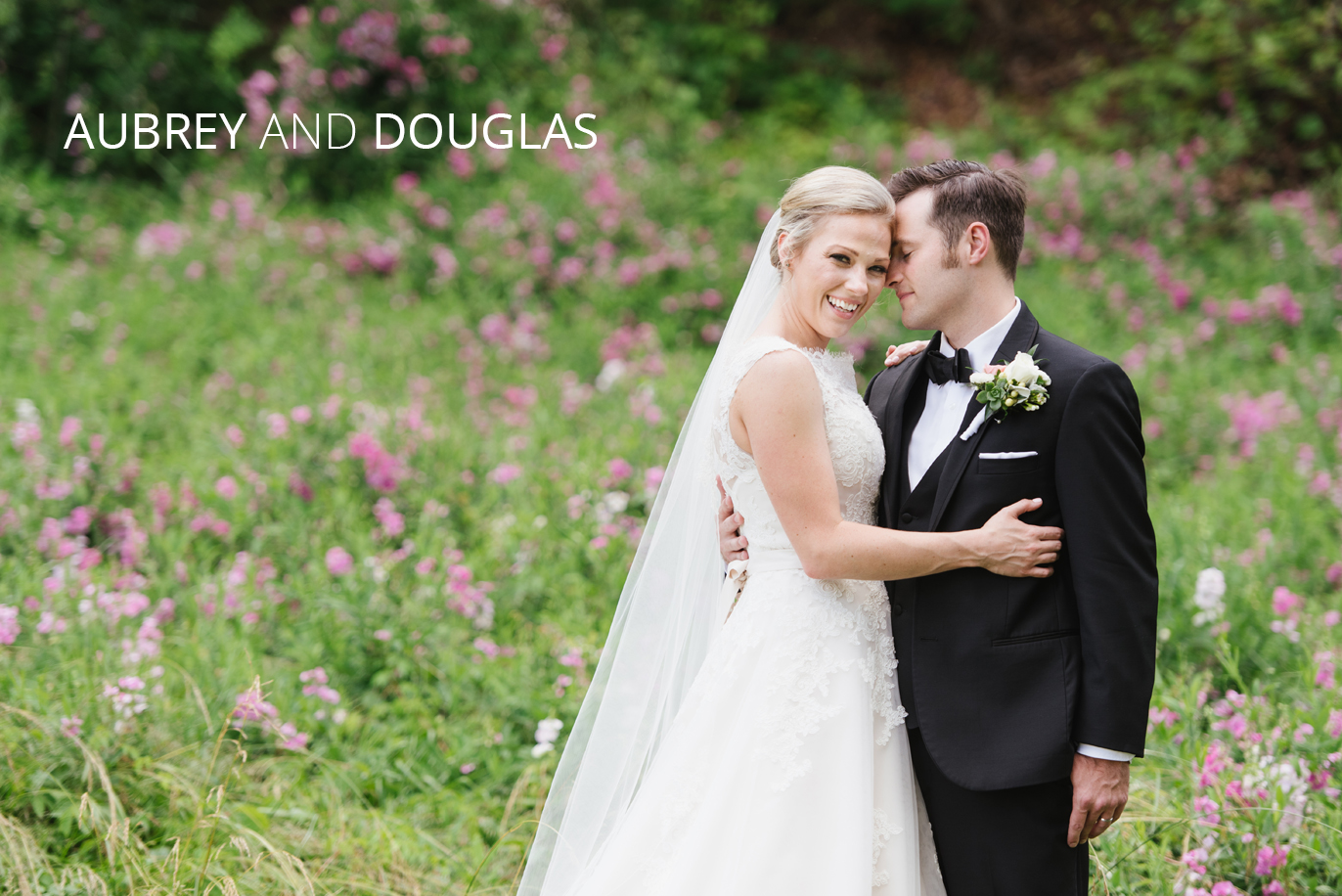 aubrey and douglas in a field of flowers