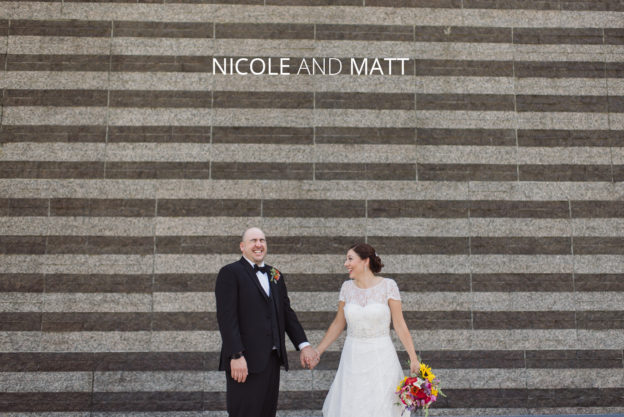 bride and groom in front of cleveland art museum