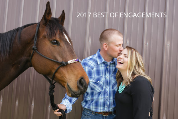 engaged couple with their horse