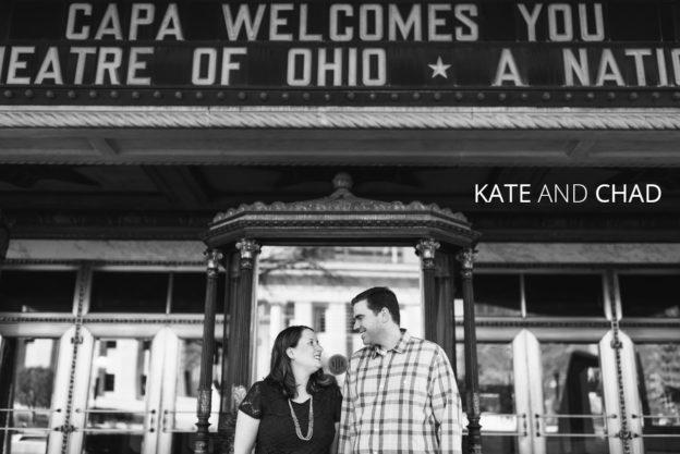 engaged couple under ohio theater sign