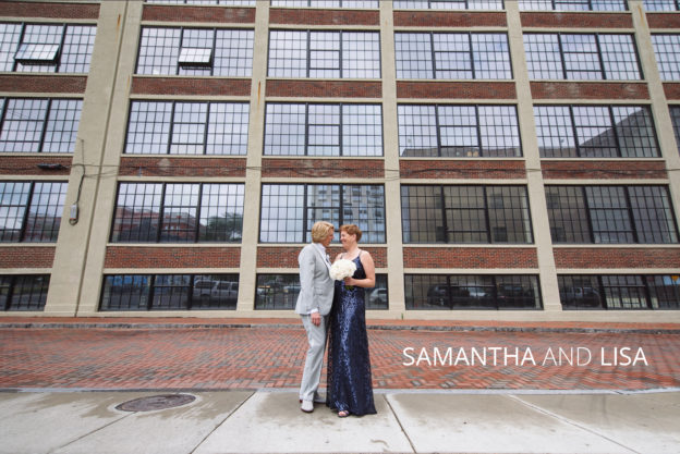 samantha and lisa in downtown columbus on their wedding day