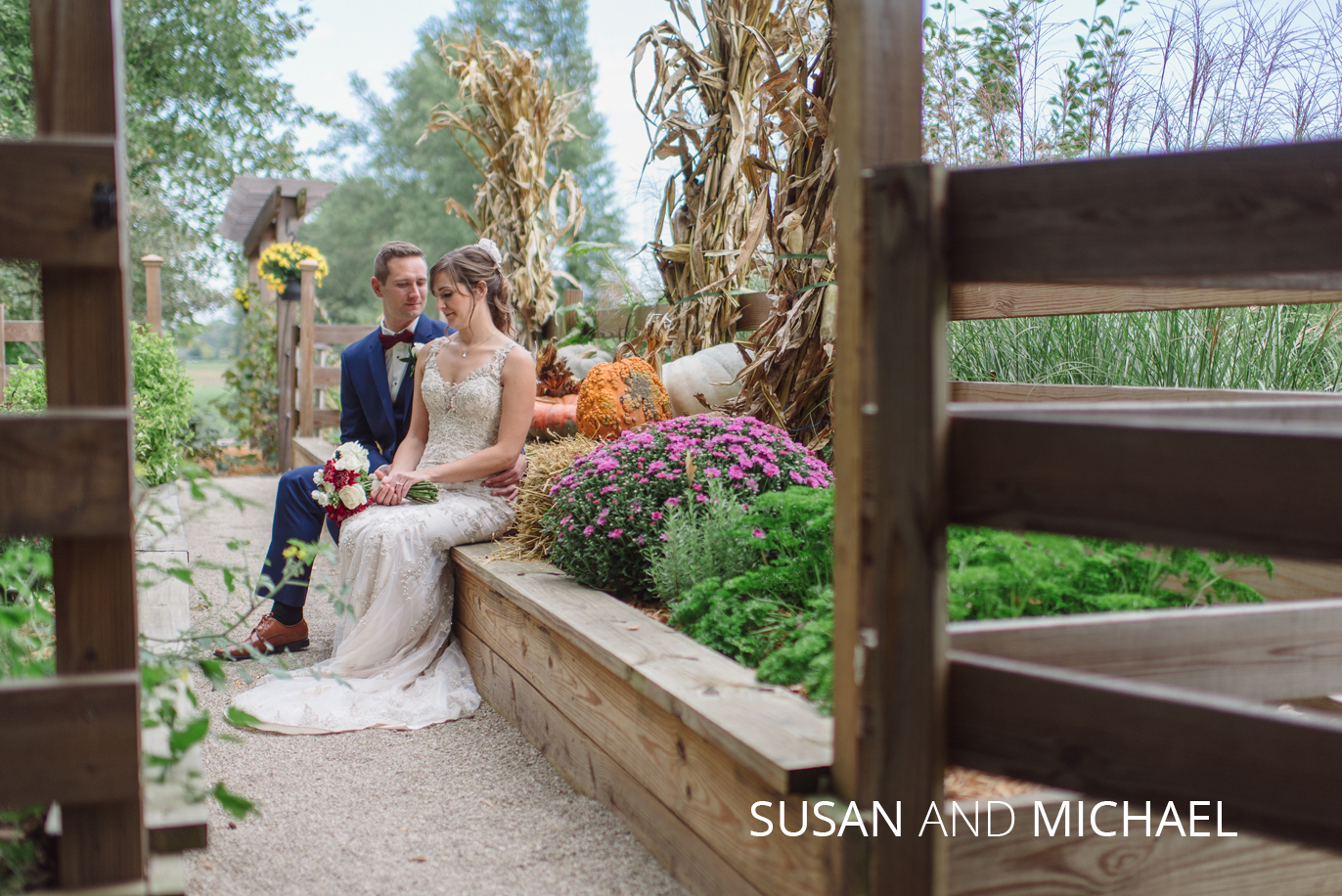 susan and michael in the gardens at Brookshire