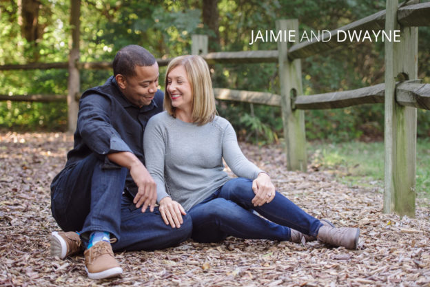Jaimie and Dwayne hugging in the park