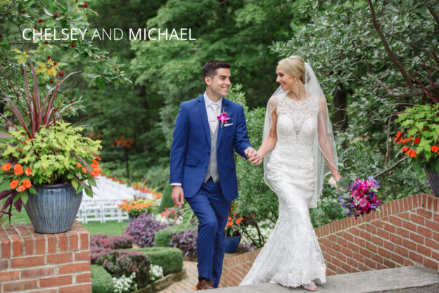chelsey and michael walking the grounds of kingwood garden