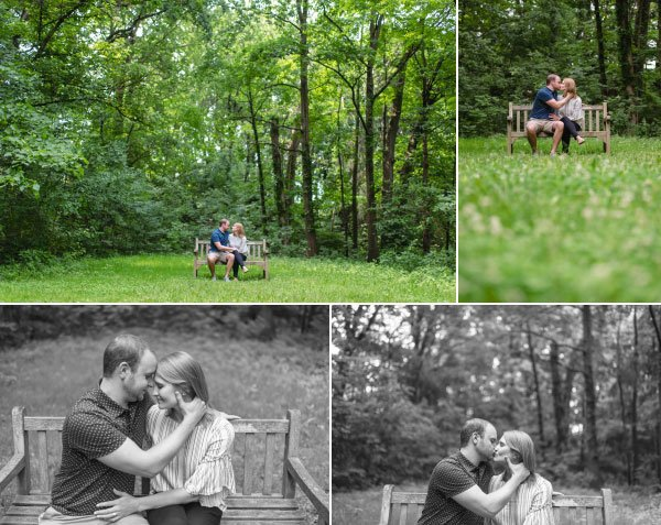 a couple kissing on a bench