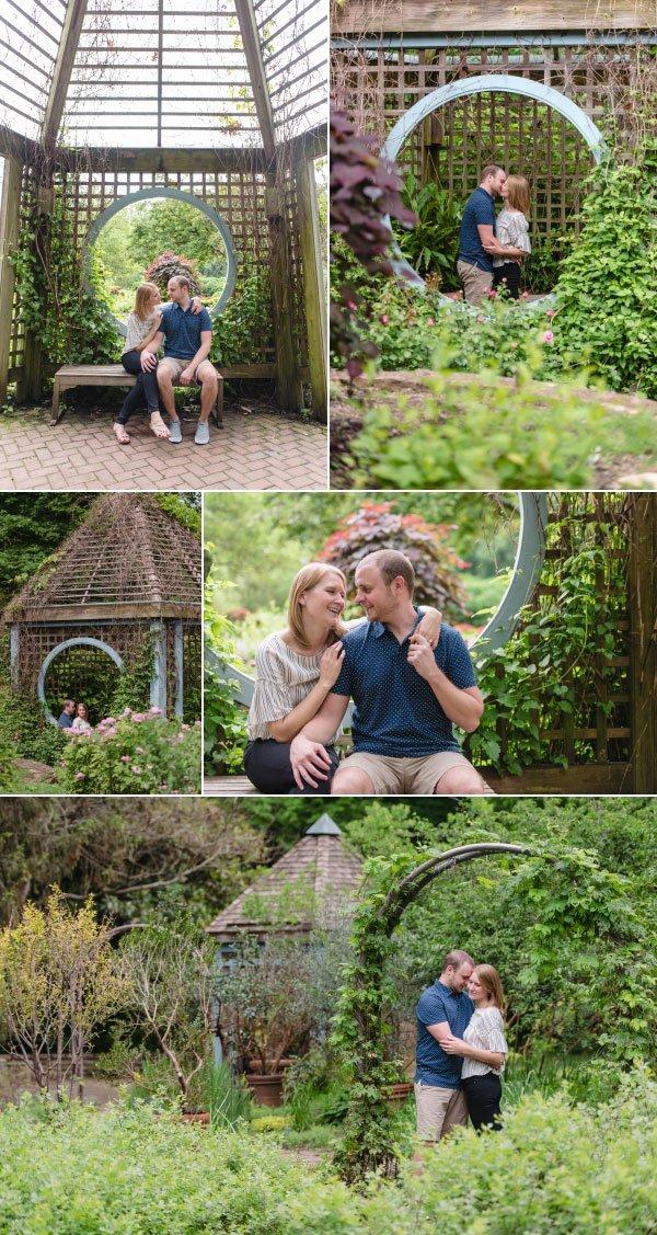 a couple walking through inniswood garden