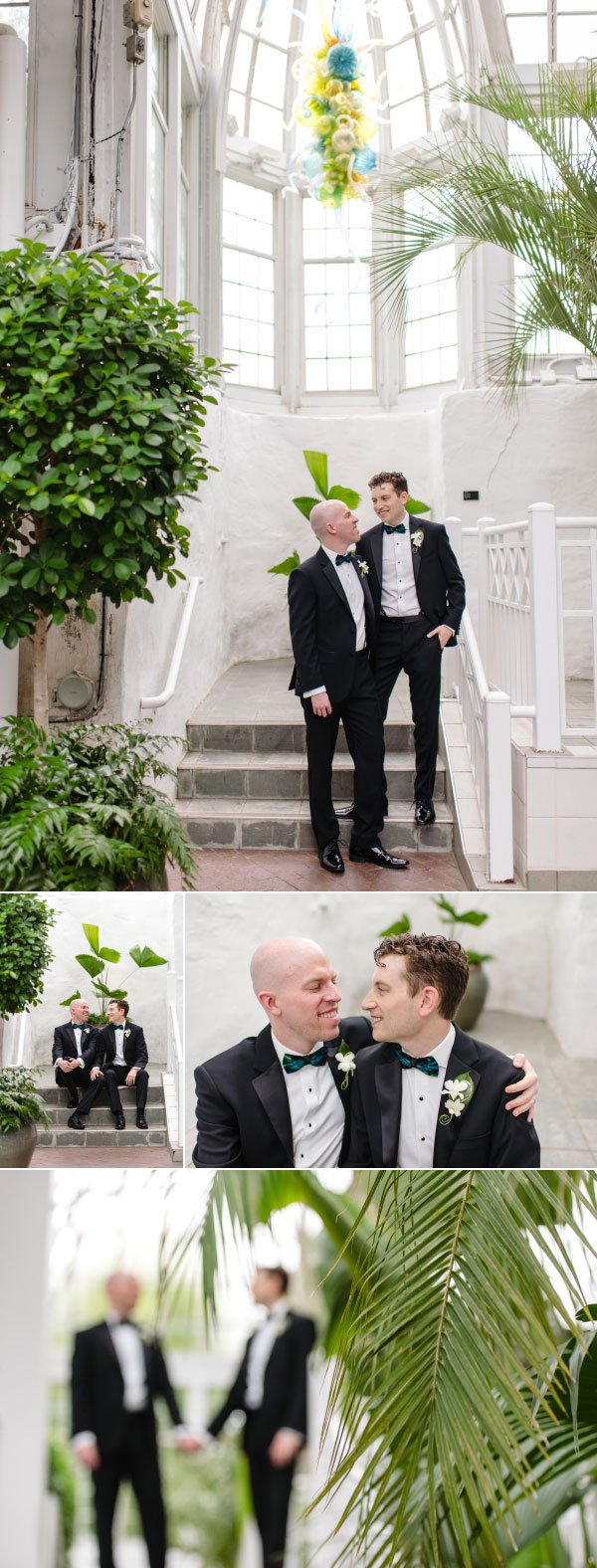 gay couple's wedding photos at franklin park conservatory