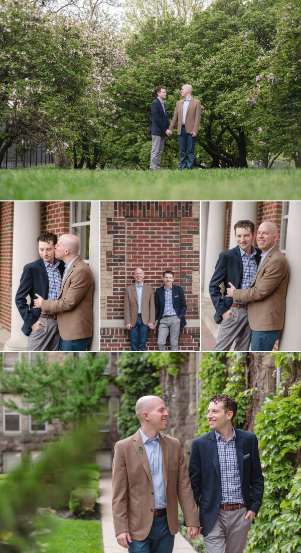 two men in goodale park for their engagement shoot