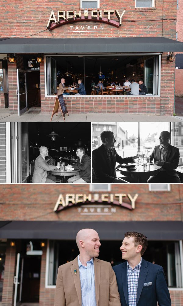 an engaged couple at arch city tavern