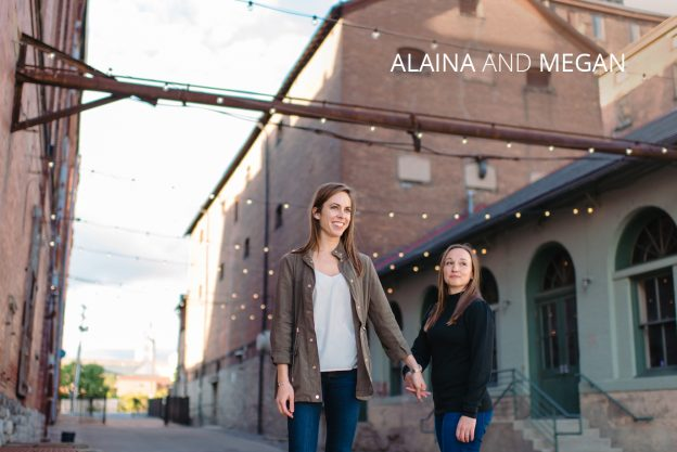 alaina and megan outside a warehouse