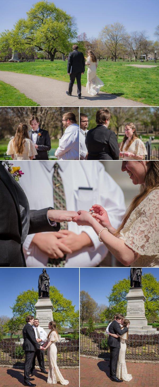 Bride and groom elopeing in schiller park