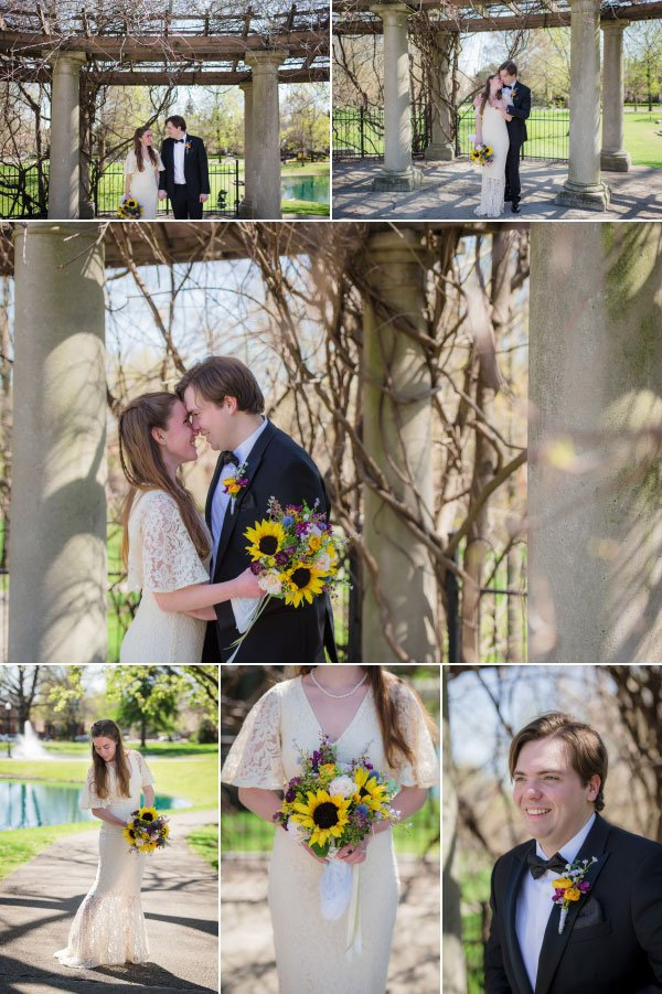 bride and groom in the spring