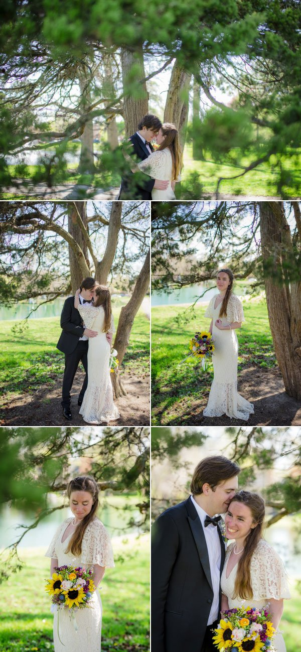 bride and groom kissing under a tree