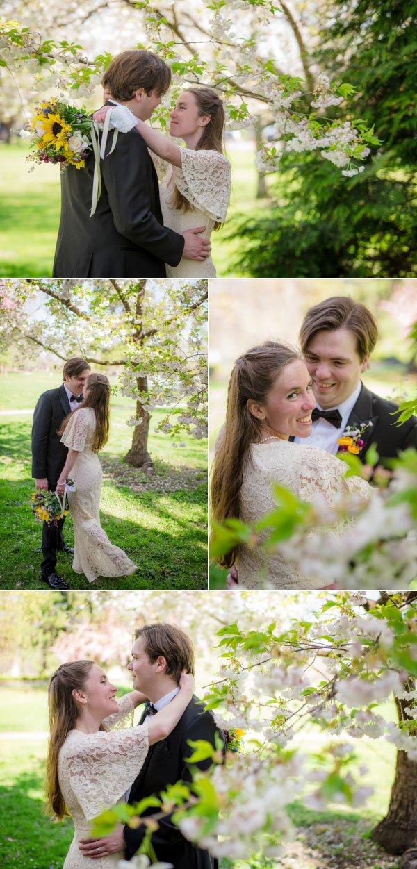 bride and groom by spring blooms