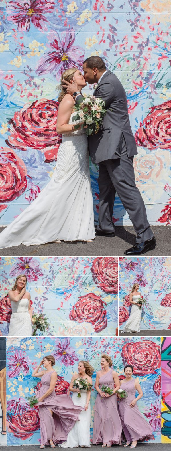 bride and groom kiss in front of mural