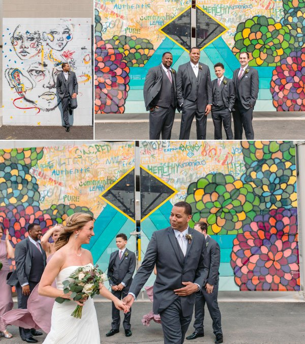 wedding photos in front of murals