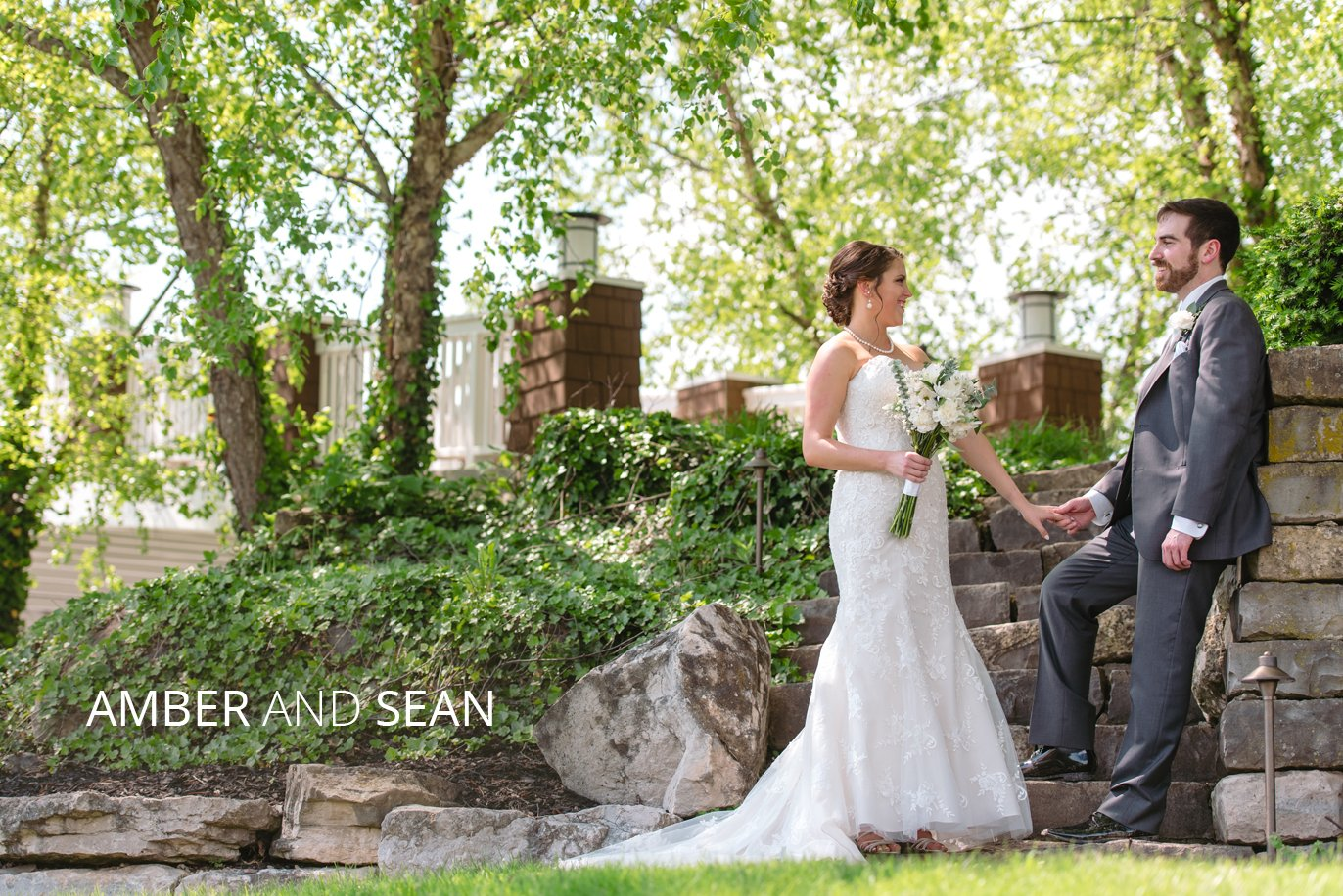 sean and amber outside on their wedding day